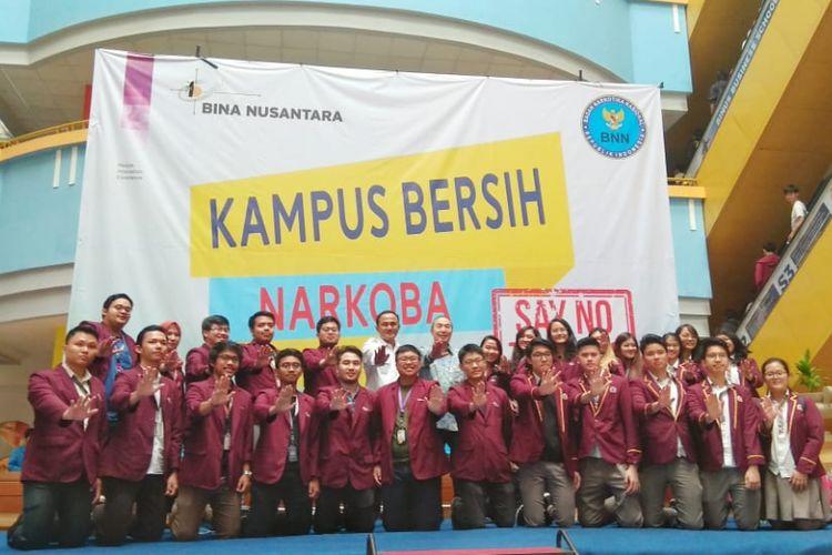 Gerakan anti narkoba di lingkungan kampus Binus bekerjasama dengan BNN (15/5/2018)