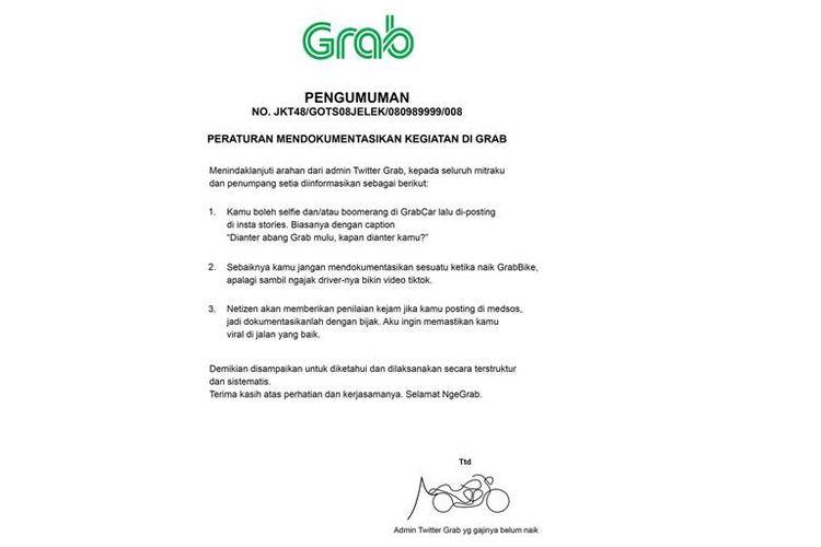 Grab Indonesia Rilis Peraturan Kegiatan Pendokumentasian saat Perjalanan