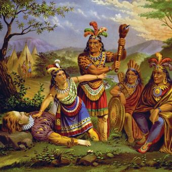 Pocahontas menyelamatkan nyawa Kapten John Smith. (Library of Congress)