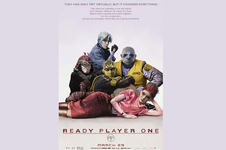Lena Waithe, Win Morisaki, Tye Sheridan, Olivia Cooke, dan Philip Zhao dalam Ready Player One (2018).