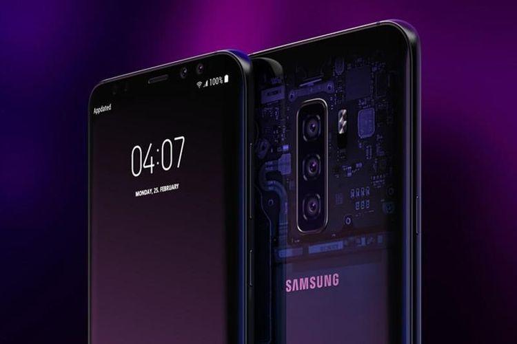 Render grafis desain Galaxy S10.