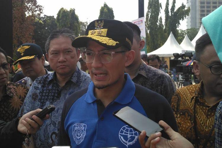 Wakil Gubernur DKI Jakarta Sandiaga Uno di kawasan Istora Senayan, Jakarta Pusat, Selasa (12/6/2018).