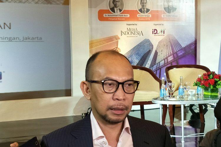 Chatib Basri usai menjadi pembicara pada acara Disruptif Ekonomi Digital di Ritz Carlton, Jakarta, Senin (5/1/2018).