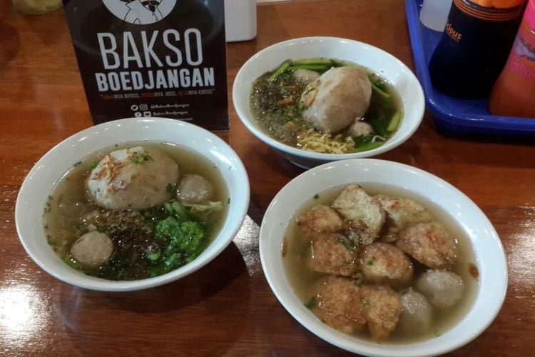Sejumlah menu Bakso Boedjangan yang ada di Kota Malang, Jumat (12/1/2018). Bakso yang berpusat di Bandung itu resmi masuk ke Kota Malang.