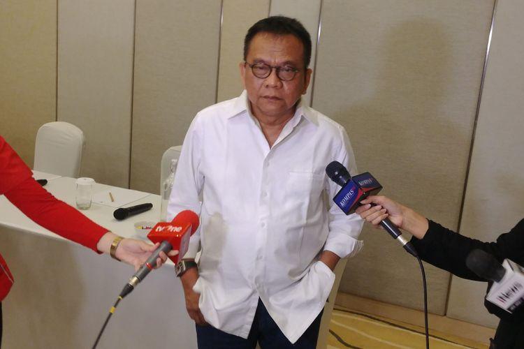 Ketua DPD Gerindra DKI M Taufik saat pertemuan dengan DPD Gerindra seluruh Indonesia di Cikini, Jakarta, Senin (12/3/2018).