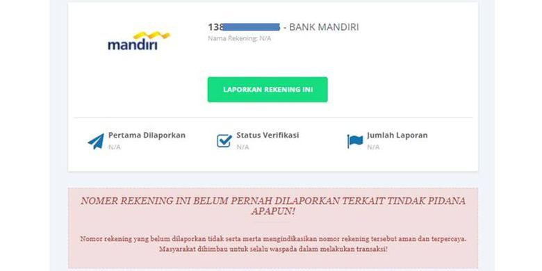 Tangkapan layar hasil pengecekan suatu nomor rekening di situs CekRekeningID Kominfo.