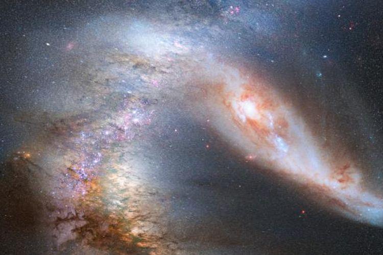 Ilustrasi merger antara Bimasakti dan Andromeda.