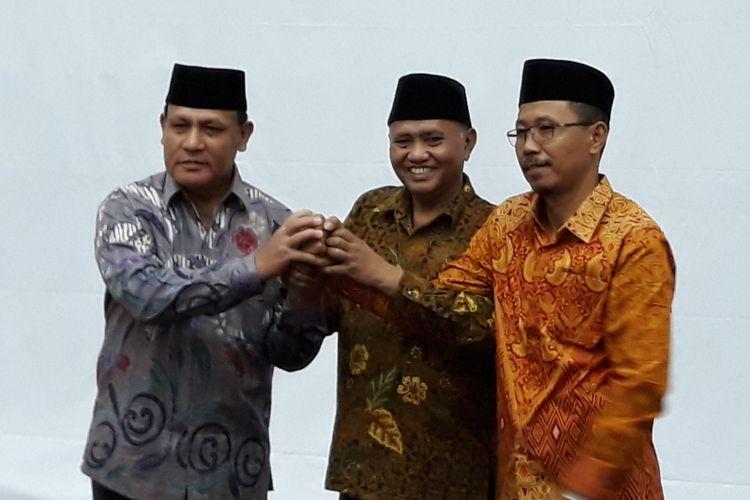 Deputi Penindakan Brigjen (Pol) Firli, Ketua KPK Agus Rahardjo dan Direktur Penuntutan Supardi di Gedung KPK Jakarta, Jumat (6/4/2018).