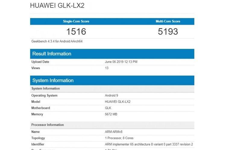 tangkapan layar Geekbench Huawei Nova 5i