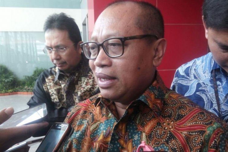 Direktur Utama BPJS Ketenagakerjaan, Agus Susanto saat diwawancarai di Jiexpo, Kemayoran, Jakarta, Senin (14/5/2018).