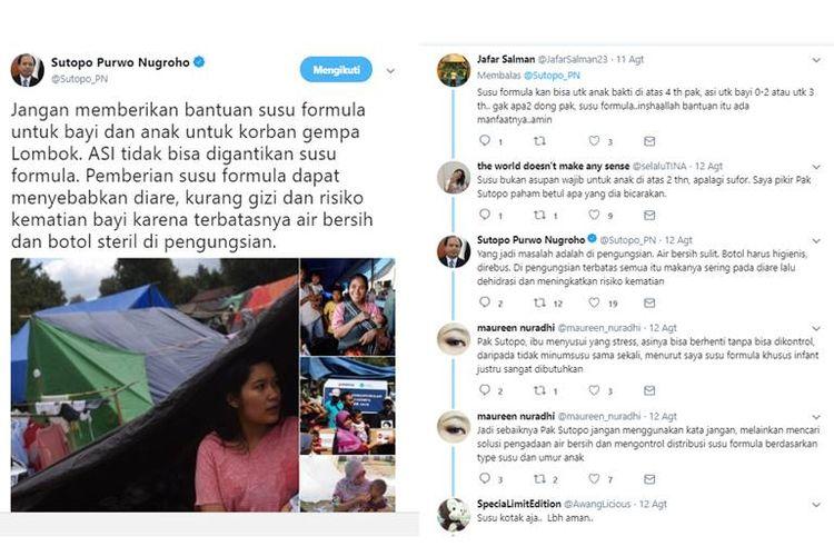 Twit Sutopo tentang pemberian susu formula kepada korban bencana gempa bumi di Lombok yang tuai respons warganet.