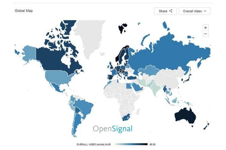 OpenSignal meriset 69 negara di dunia tentang kecepatan download internet dan pengalaman video.