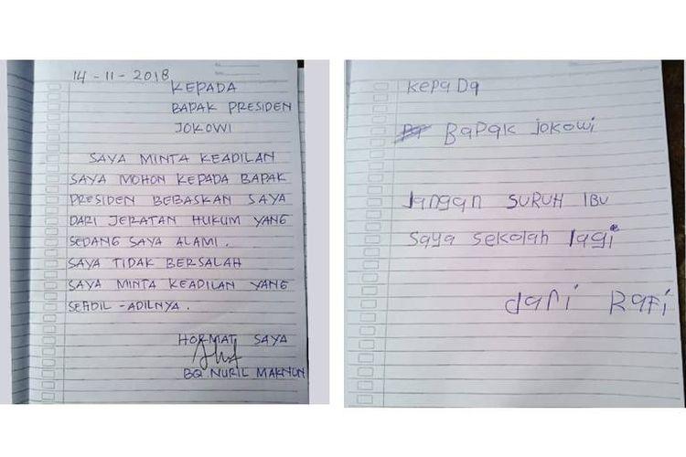 Foto surat Baiq Nuril dan anaknya, R, yang ditujukan kepada Presiden Jokowi.