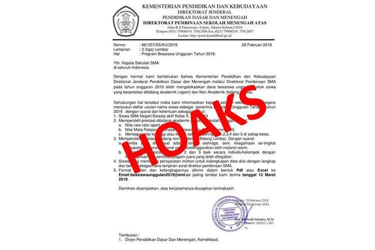Hoaks surat program beasiswa unggulan atasnamakan Kemendikbud.