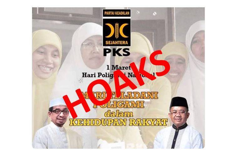 Hoaks 1 Maret dicetuskan sebagai Hari Poligami Nasional dengan logo PKS tersebar di media sosial.