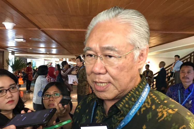 Menteri Perdagangan Enggartiasto Lukita saat menghadiri Pertemuan Tahunan IMF-Bank Dunia 2018 di Nusa Dua, Bali, Jumat (12/10/2018).