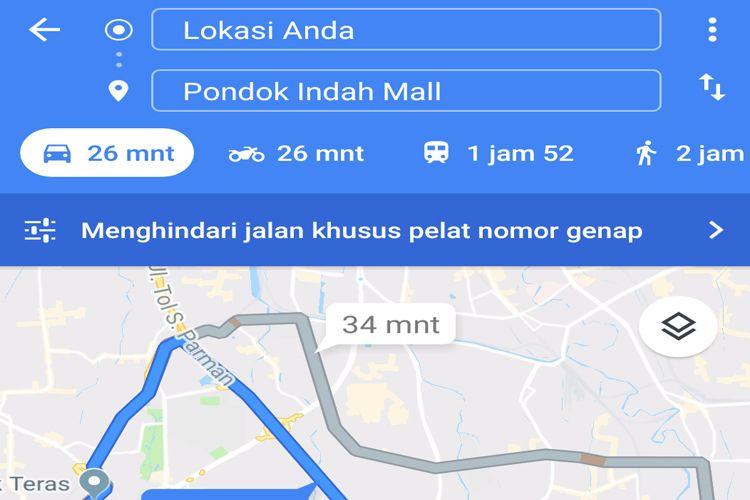 Fitur Ganjil Genap pada Google Maps