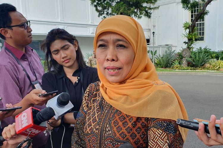 Gubernur Jawa Timur Khofifah Indar Parawansa di Istana Kepresidenan, Jakarta, Selasa (18/6/2019).