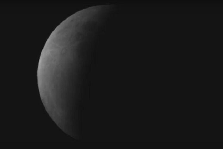 Foto atau wajah gerhana bulan sebagian pada Rabu (17/7/2019) pada sekitar waktu puncak gerhana.