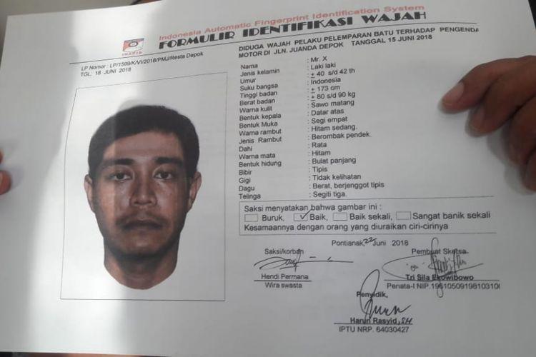 Sketsa wajah terduga pelaku pelemparan batu bocah di Depok.
