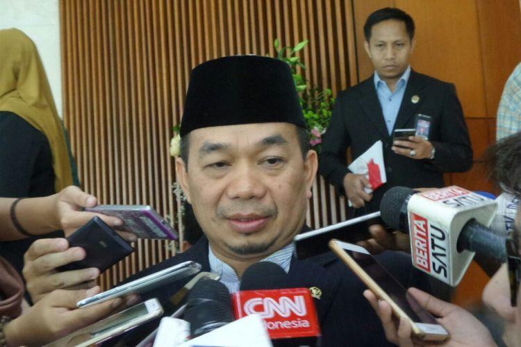 Ketua Fraksi PKS di DPR Jazuli Juwaini di Kompleks Parlemen, Senayan, Jakarta, Selasa (29/8/2017).