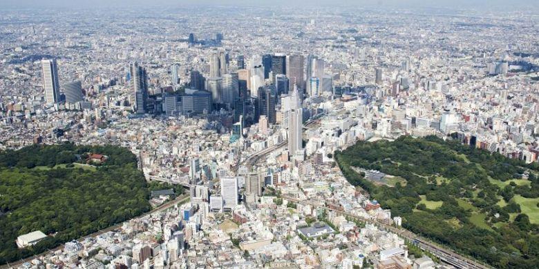 Pemandangan Jepang diambil dari udara