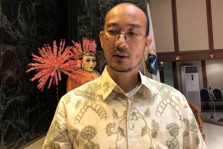 Ketua Perkumpulan Gerakan OK OCE Faransyah Jaya di Balai Kota DKI Jakarta, Selasa (6/3/2018).