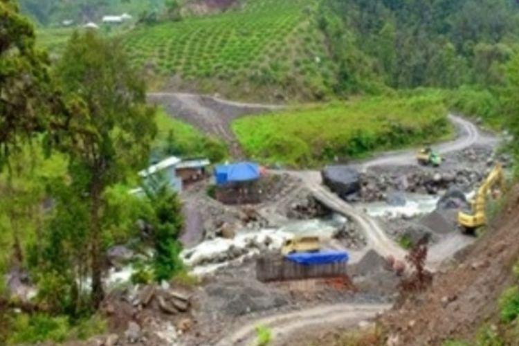 Lokasi pembangunan jembatan di Jalan Trans Papua, di Kali Yigi-Kali Aurak, Distrik Yigi, Kabupaten Nduga, Papua.