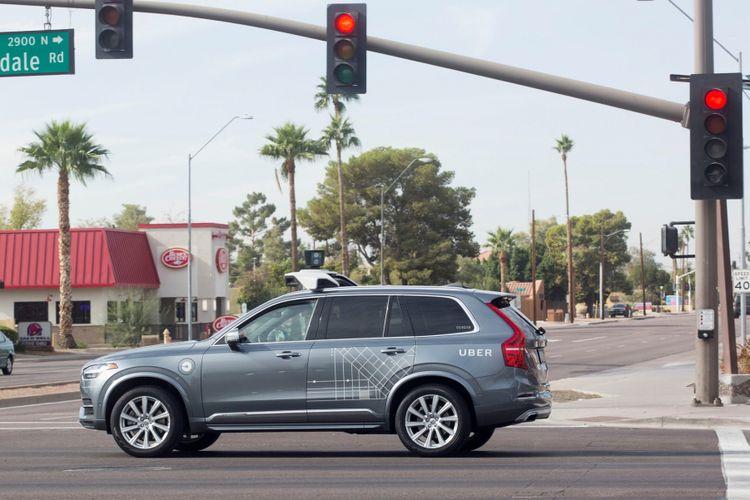 Ilustrasi unit Uber dengan teknologi otonomos.