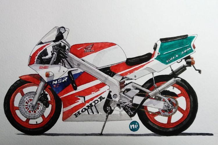 Sketsa Honda NSR250R karya perupa grafis Oni Faristiwa.