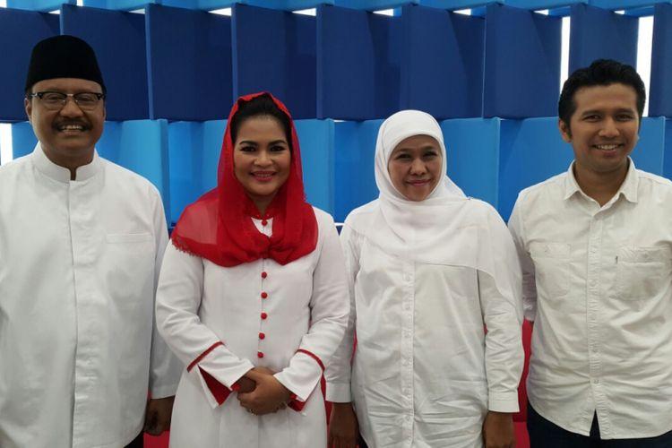 Pasangan calon gubernur dan wakil gubernur Jawa Timur pada Pilkada 2018, (ki-ka) Saifullah Yusuf, Puti Soekarnoputri, Khofifah Indar Parawansa, dan Emil Dardak di Studio Kompas TV, Rabu (7/3/2018).