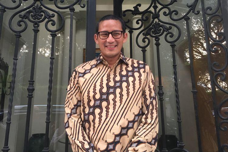 Wakil gubernur terpilih DKI Jakarta Sandiaga Uno saat ditemui di kediamannya di wilayah Jakarta Selatan, Sabtu (8/7/2017).