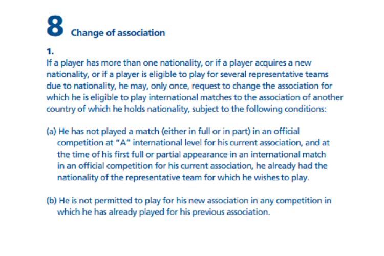 Pasal dalam Statuta FIFA yang membahas status pemain berganti kewarganegaraan dan hendak membela timnas negara barunya.