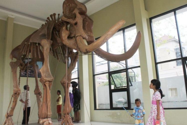 Suasana bangunan yang memajang replika fosil gajah purba di kawasan alun-alun Blora, Jawa Tengah?, Rabu (27/3/2019).