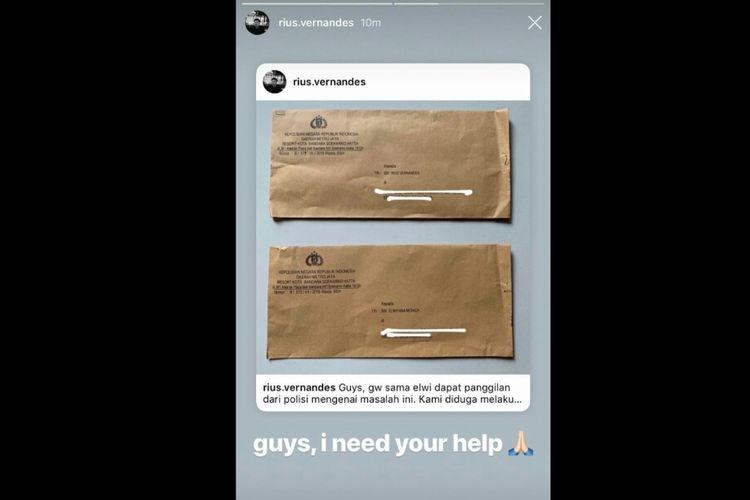 Dalam instagram pribadinya, Rius Vernandes mengunggah foto surat panggilan polisi sebagai saksi dalam kasus yang bermula dari unggahan kartu menu bertulisan tangan di kabin Garuda Indonesia. Tangkap layar diambil pada Selasa (16/7/2019).