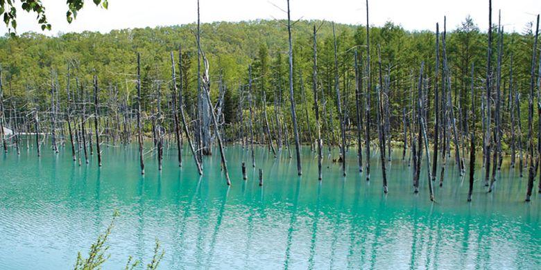 Kolam biru Aoi Ike di Hokkaido, Jepang.