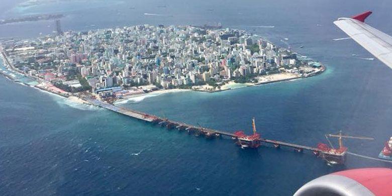 Kota Male, ibu kota Maladewa dilihat dari pesawat.
