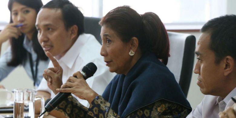 Menteri KKP Susi Pudjiastuti dalam konferensi pers Senin (10/7/2017)