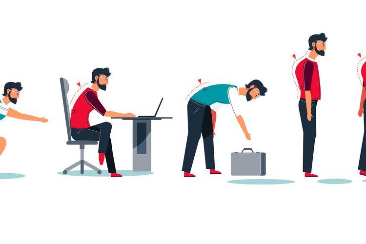 Cara duduk dan berdiri yang salah dapat menyebabkan skoliosis, lordosis, dan kifosis.