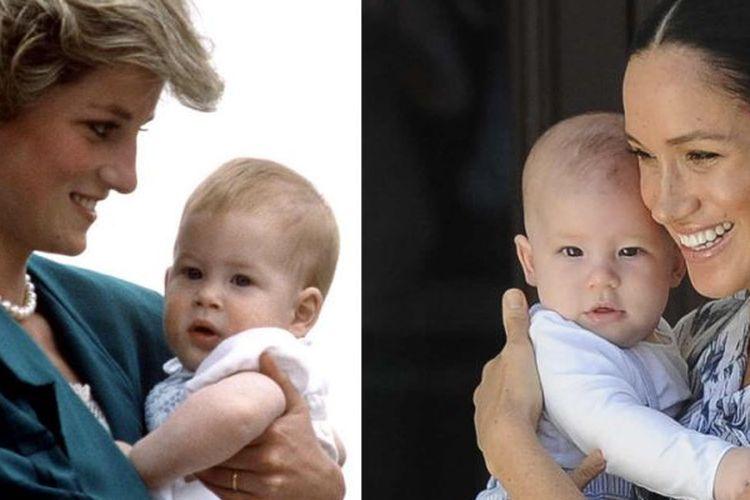 Kiri: Pangeran Harry di usia balita ketika digendong ibunya, mendiang Putri Diana. Kanan: Bayi Archie digendong ibunya, Meghan Markle.(E! Online)