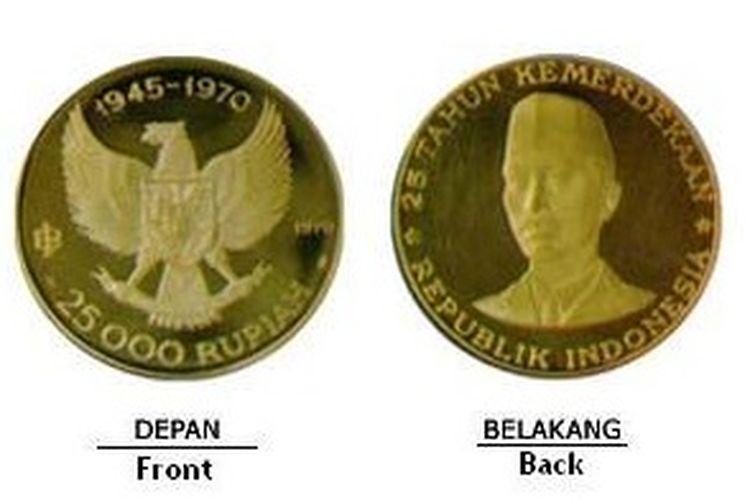 Uang logam emas murni dari Bank Indonesia