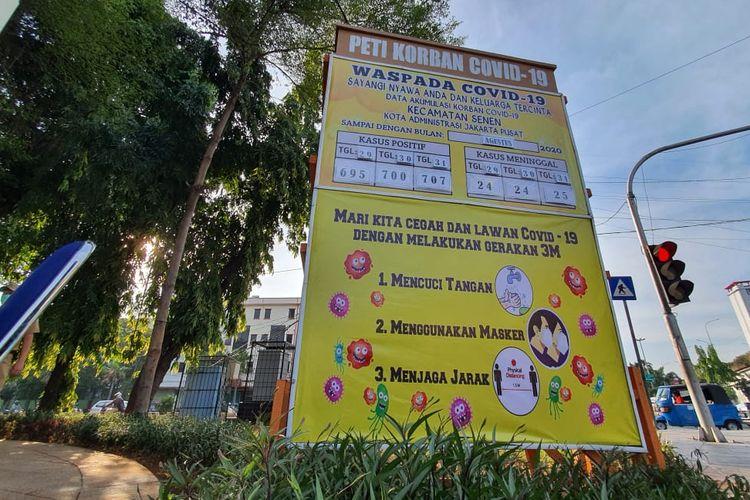 Monumen Covid-19 yang berlokasi di Simpang Lima Senen, Kecamatan Senen, Jakarta Pusat