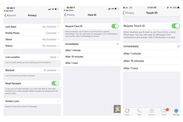 Fitur biometrik WhatsApp versi iOS