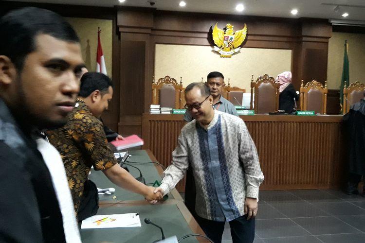 Mantan Kepala BPPN, Syafruddin Arsyad Temenggung di Pengadilan Tipikor Jakarta, Senin (14/5/2018).