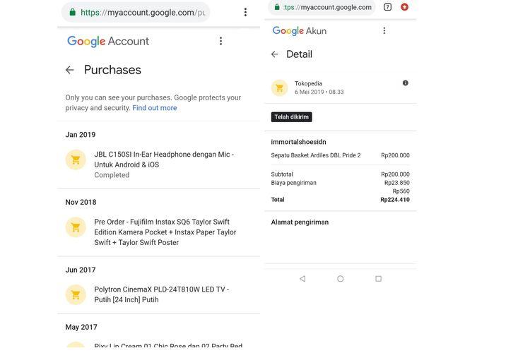 Tangkapan layar transaksi pembelian online yang terekam Google