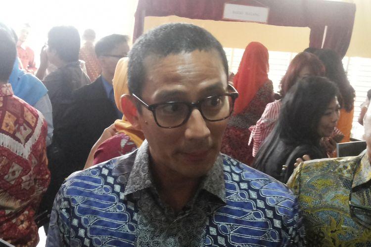 Wakil gubernur terpilih DKI Jakarta Sandiaga Uno saat ditemui di Kampus Universitas Indonesia, Depok, Jumat (7/7/2017).