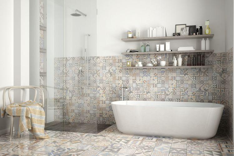 Ilustrasi kamar mandi bergaya modern.