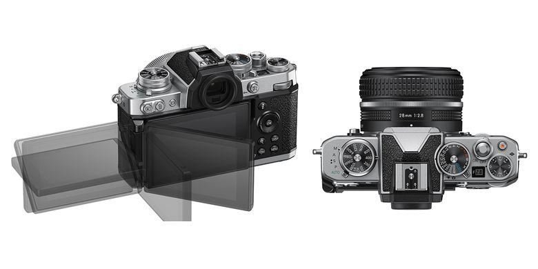 Tampilan top plate kamera Z fc yang memiliki kenop pengatur kecepatan rana, ISO, dan exposure compensation, serta tampak belakang dengan layar sentuh 3 inci fully articulated