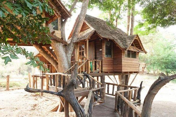 Rumah pohon bertajuk Star ini, berlokasi di Luang Nuea, Chiang Mai, Thailand, yang ditawarkan melalui situs Airbnb