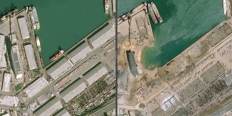 Foto sebelum dan sesudah ledakan di pelabuhan ibu kota Beirut, Lebanon.